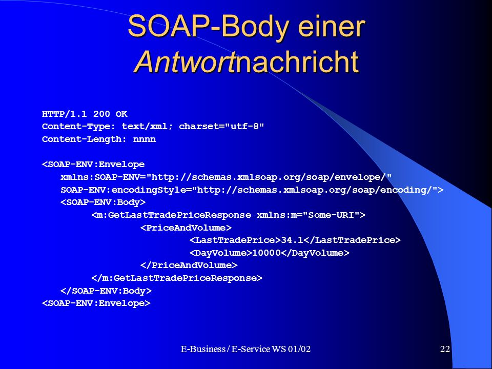 E-Business / E-Service WS 01/0222 SOAP-Body einer Antwortnachricht HTTP/1.1 200 OK Content-Type: text/xml; charset=