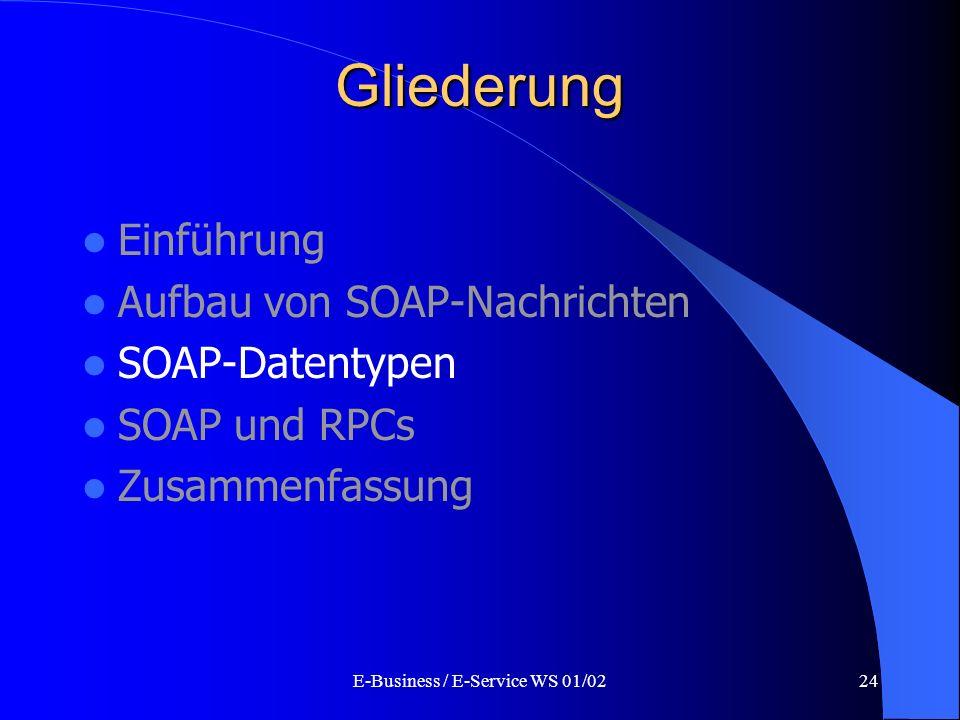 E-Business / E-Service WS 01/0224 Gliederung Einführung Aufbau von SOAP-Nachrichten SOAP-Datentypen SOAP und RPCs Zusammenfassung