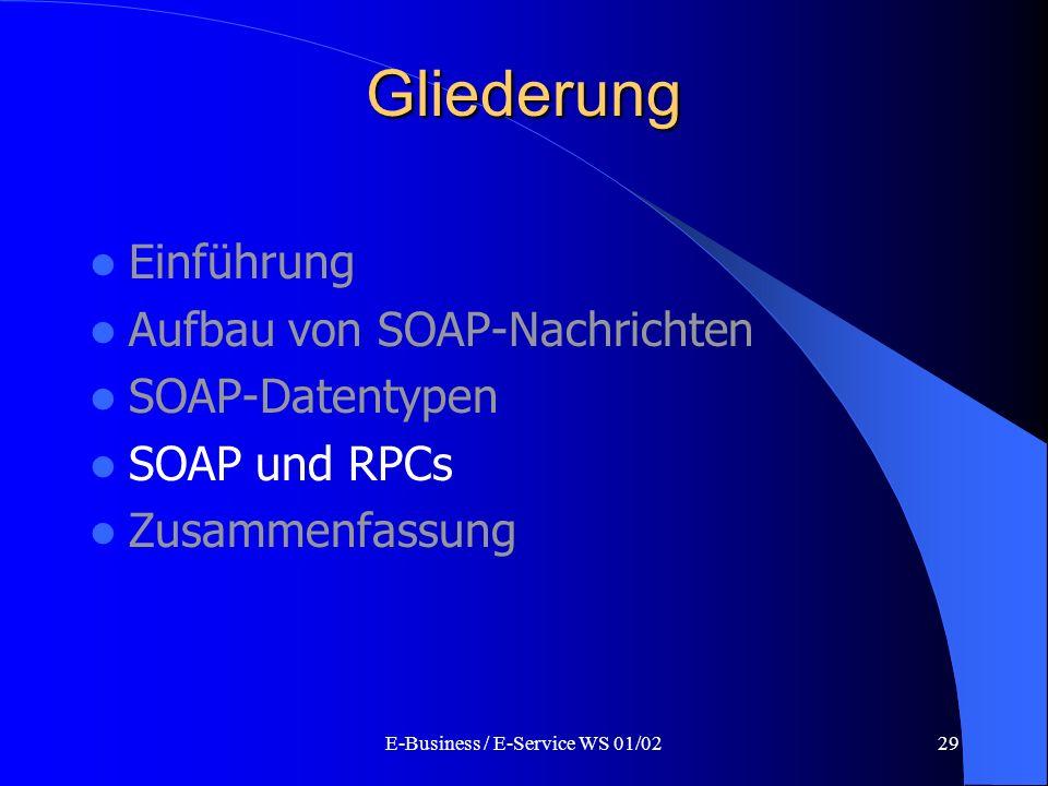 E-Business / E-Service WS 01/0229 Gliederung Einführung Aufbau von SOAP-Nachrichten SOAP-Datentypen SOAP und RPCs Zusammenfassung