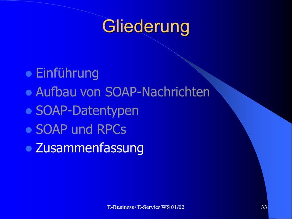 E-Business / E-Service WS 01/0233 Gliederung Einführung Aufbau von SOAP-Nachrichten SOAP-Datentypen SOAP und RPCs Zusammenfassung