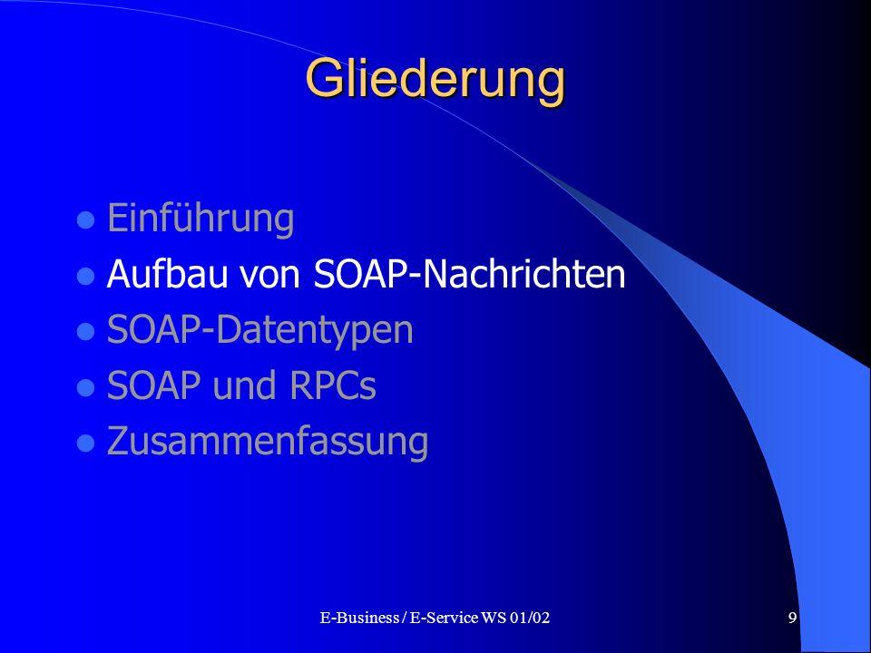 E-Business / E-Service WS 01/029 Gliederung Einführung Aufbau von SOAP-Nachrichten SOAP-Datentypen SOAP und RPCs Zusammenfassung