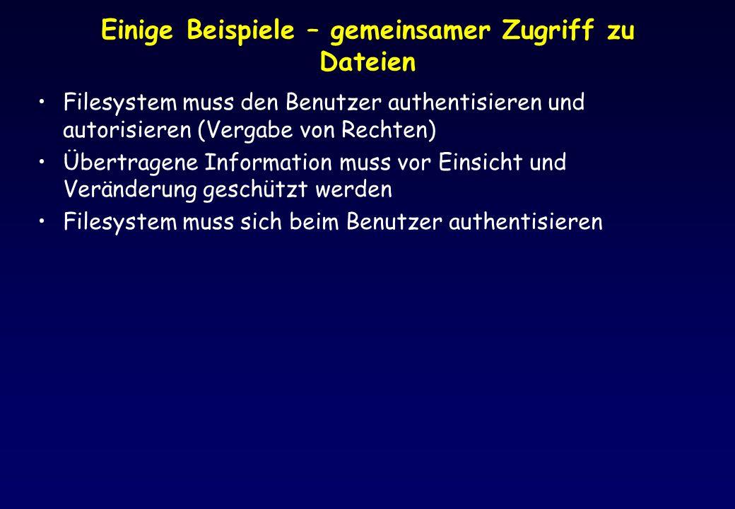 Einige Beispiele – gemeinsamer Zugriff zu Dateien Filesystem muss den Benutzer authentisieren und autorisieren (Vergabe von Rechten) Übertragene Infor