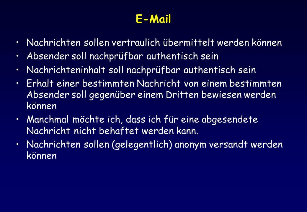 E-Mail Nachrichten sollen vertraulich übermittelt werden können Absender soll nachprüfbar authentisch sein Nachrichteninhalt soll nachprüfbar authenti
