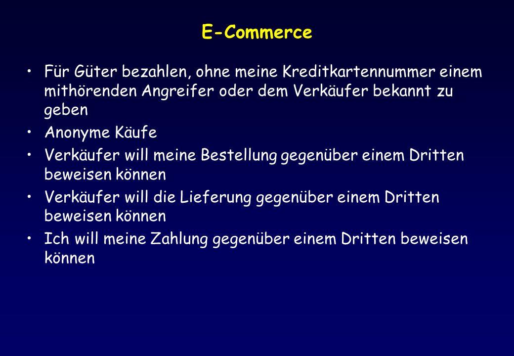 E-Commerce Für Güter bezahlen, ohne meine Kreditkartennummer einem mithörenden Angreifer oder dem Verkäufer bekannt zu geben Anonyme Käufe Verkäufer w