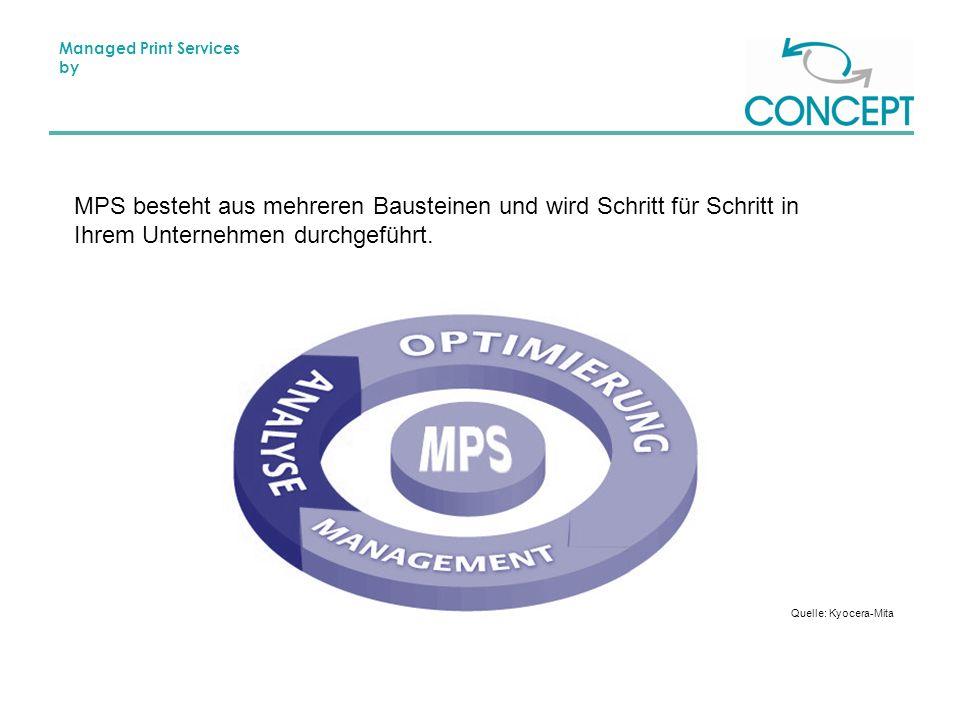 Managed Print Services by MPS besteht aus mehreren Bausteinen und wird Schritt für Schritt in Ihrem Unternehmen durchgeführt.