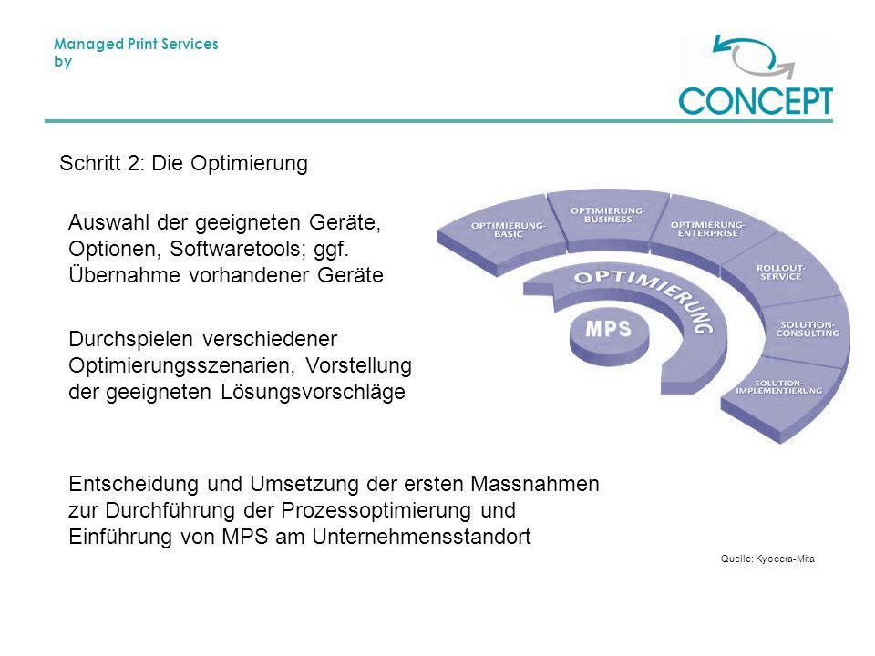 Managed Print Services by Schritt 2: Die Optimierung Auswahl der geeigneten Geräte, Optionen, Softwaretools; ggf.