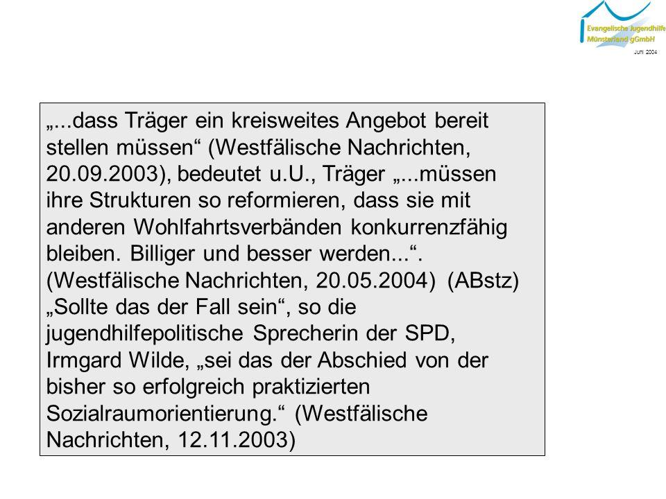 Bisherige Verfahren der sozialpädagogischen Arbeit werden dabei implizit als nicht mehr zeitgemäß oder unbefriedigend betrachtet: CDU pocht auf mehr Wettbewerb (Westfälische Nachrichten, 20.09.03) Juni 2004
