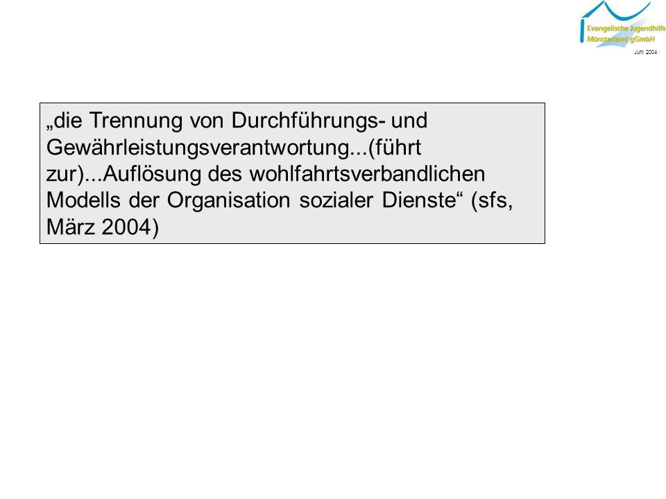 ...dass Träger ein kreisweites Angebot bereit stellen müssen (Westfälische Nachrichten, 20.09.2003), bedeutet u.U., Träger...müssen ihre Strukturen so reformieren, dass sie mit anderen Wohlfahrtsverbänden konkurrenzfähig bleiben.