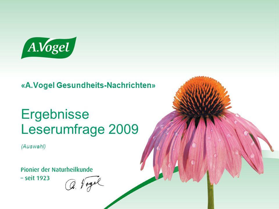 «A.Vogel Gesundheits-Nachrichten» Ergebnisse Leserumfrage 2009 (Auswahl)