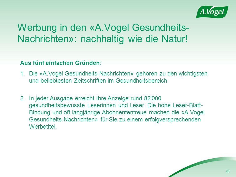 25 Werbung in den «A.Vogel Gesundheits- Nachrichten»: nachhaltig wie die Natur! Aus fünf einfachen Gründen: 1.Die «A.Vogel Gesundheits-Nachrichten» ge