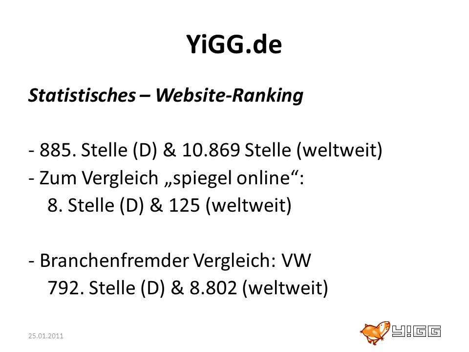 YiGG.de Statistisches – Website-Ranking
