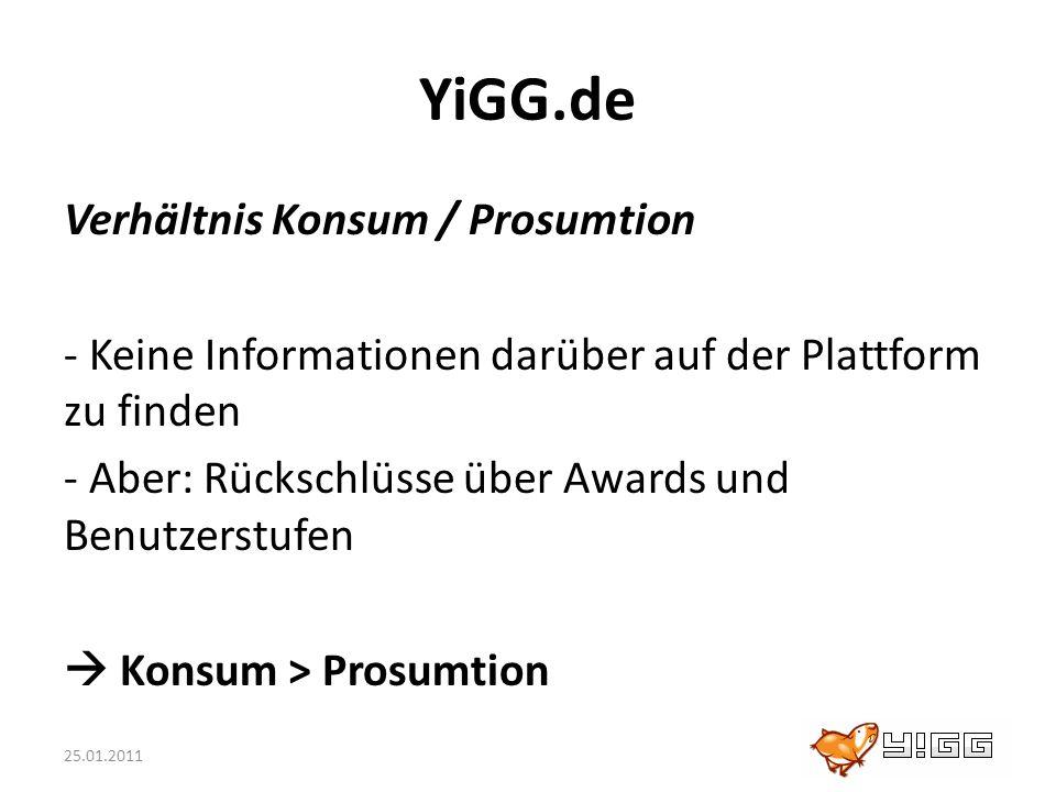 25.01.2011 YiGG.de Verhältnis Konsum / Prosumtion - Keine Informationen darüber auf der Plattform zu finden - Aber: Rückschlüsse über Awards und Benut