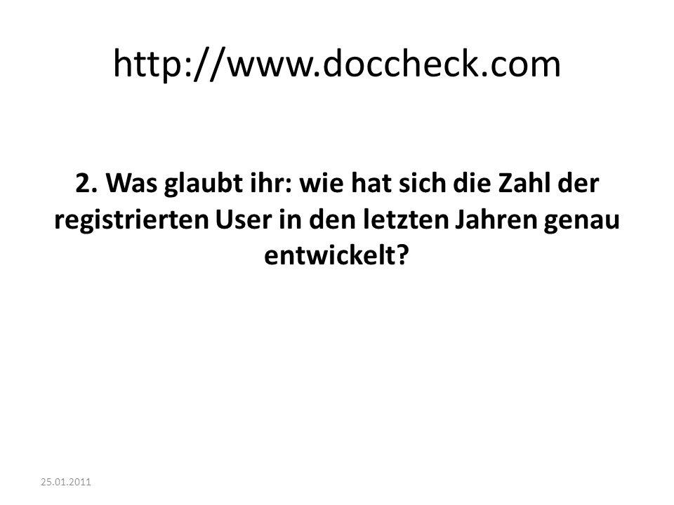 25.01.2011 http://www.doccheck.com 2. Was glaubt ihr: wie hat sich die Zahl der registrierten User in den letzten Jahren genau entwickelt?
