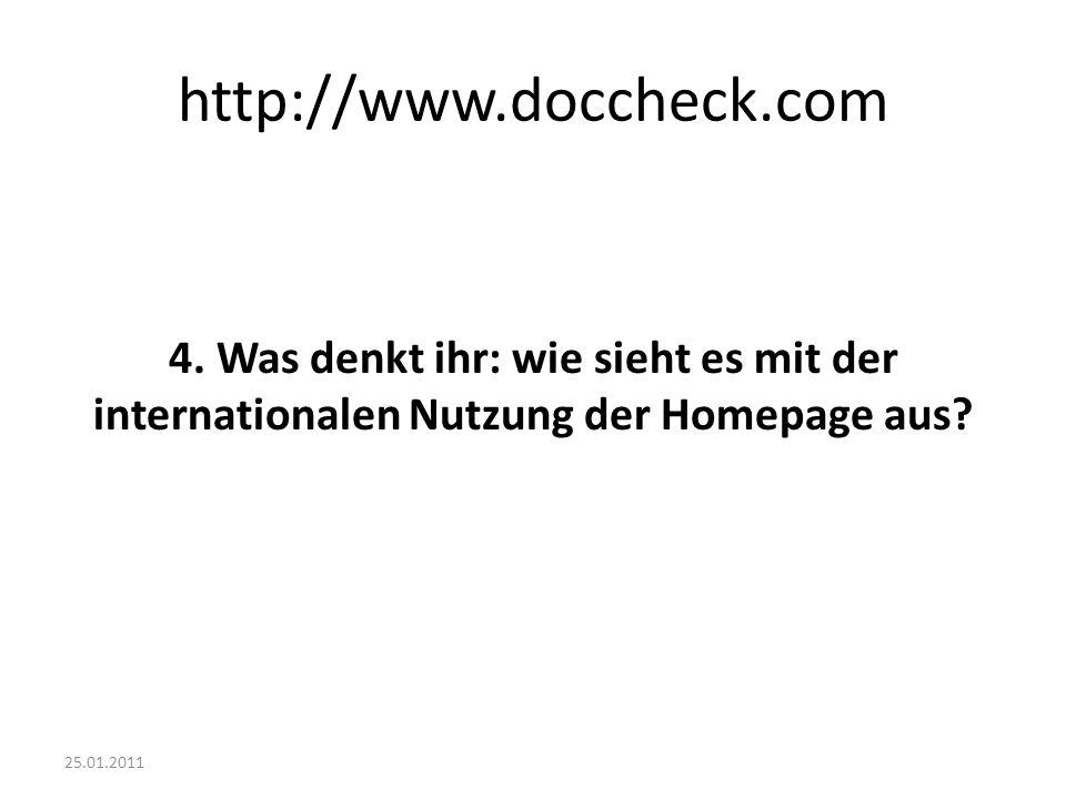 25.01.2011 http://www.doccheck.com 4. Was denkt ihr: wie sieht es mit der internationalen Nutzung der Homepage aus?