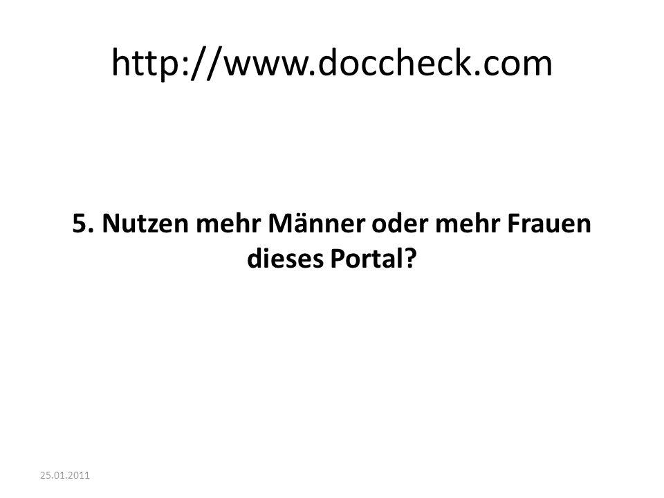 25.01.2011 http://www.doccheck.com 5. Nutzen mehr Männer oder mehr Frauen dieses Portal?