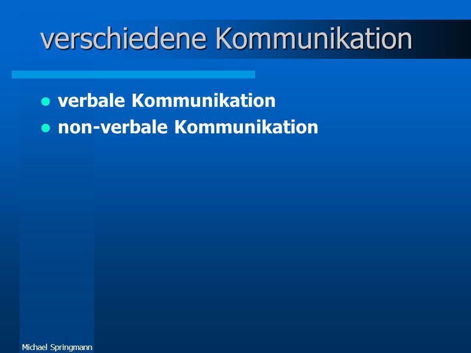 Michael Springmann verschiedene Kommunikation verbale Kommunikation non-verbale Kommunikation