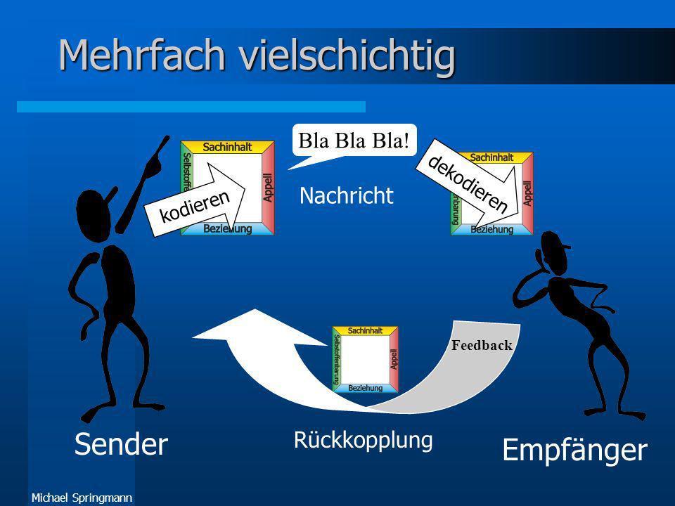 Michael Springmann Mehrfach vielschichtig Sender Empfänger Bla Bla Bla! Nachricht kodieren dekodieren Rückkopplung Feedback