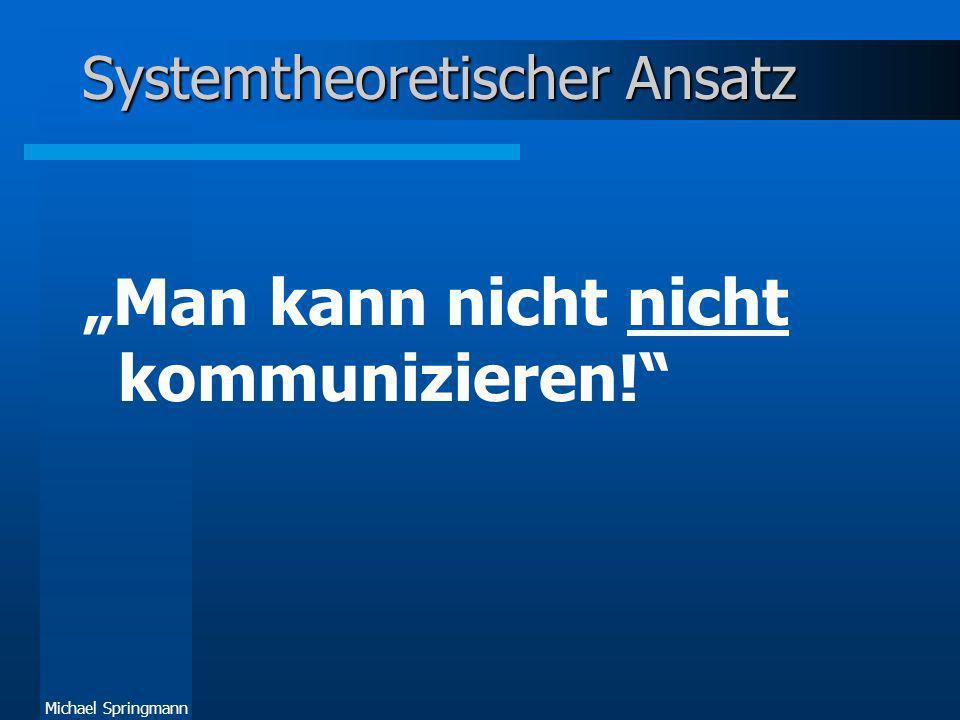 Michael Springmann Systemtheoretischer Ansatz Man kann nicht kommunizieren!