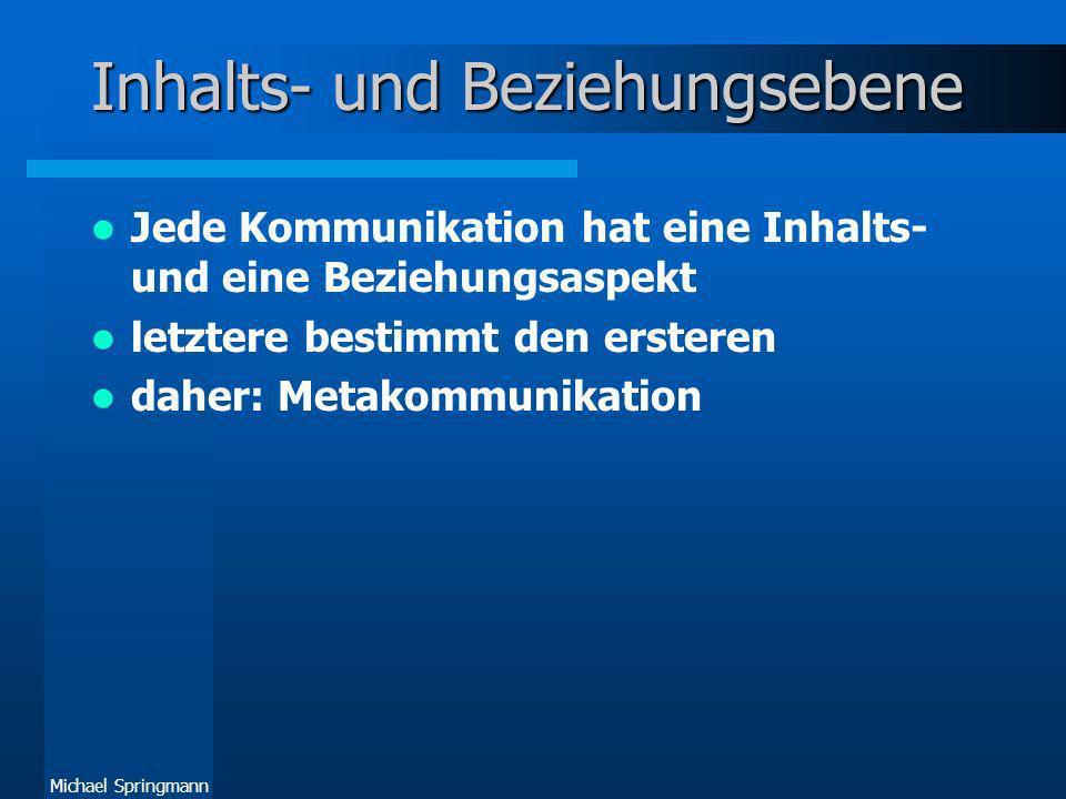 Michael Springmann Inhalts- und Beziehungsebene Jede Kommunikation hat eine Inhalts- und eine Beziehungsaspekt letztere bestimmt den ersteren daher: M
