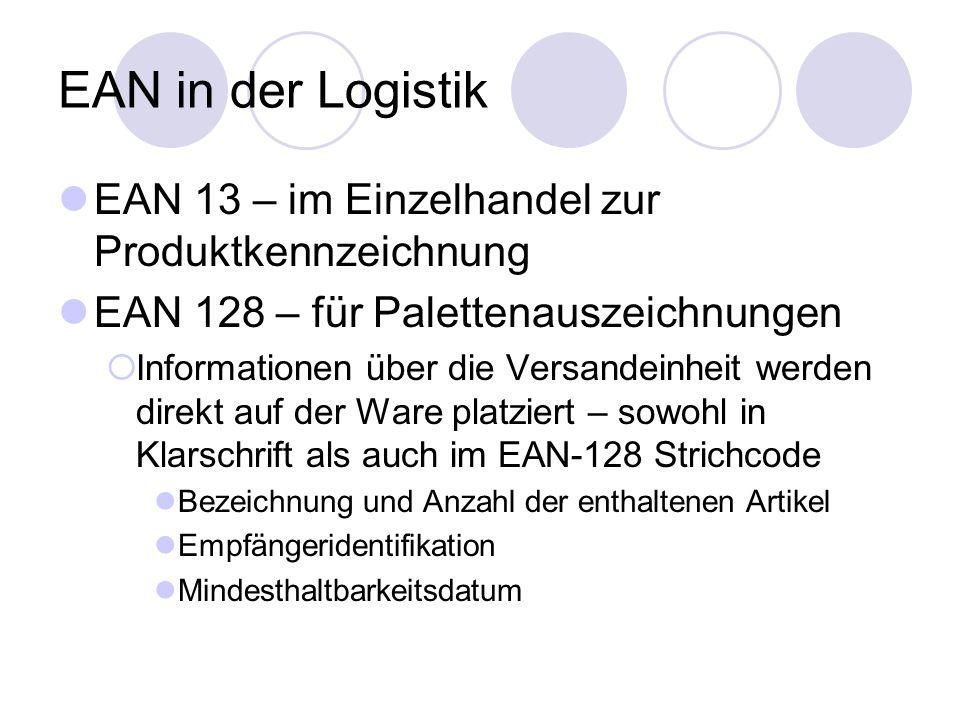 EAN in der Logistik EAN 13 – im Einzelhandel zur Produktkennzeichnung EAN 128 – für Palettenauszeichnungen Informationen über die Versandeinheit werden direkt auf der Ware platziert – sowohl in Klarschrift als auch im EAN-128 Strichcode Bezeichnung und Anzahl der enthaltenen Artikel Empfängeridentifikation Mindesthaltbarkeitsdatum