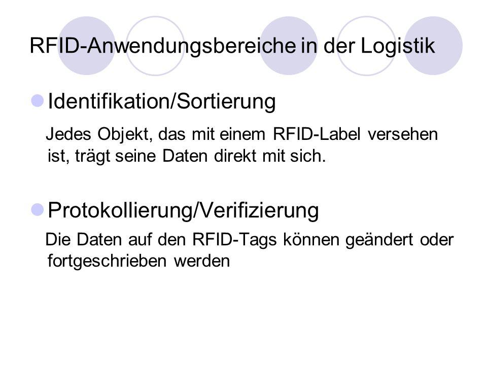 RFID-Anwendungsbereiche in der Logistik Identifikation/Sortierung Jedes Objekt, das mit einem RFID-Label versehen ist, trägt seine Daten direkt mit sich.