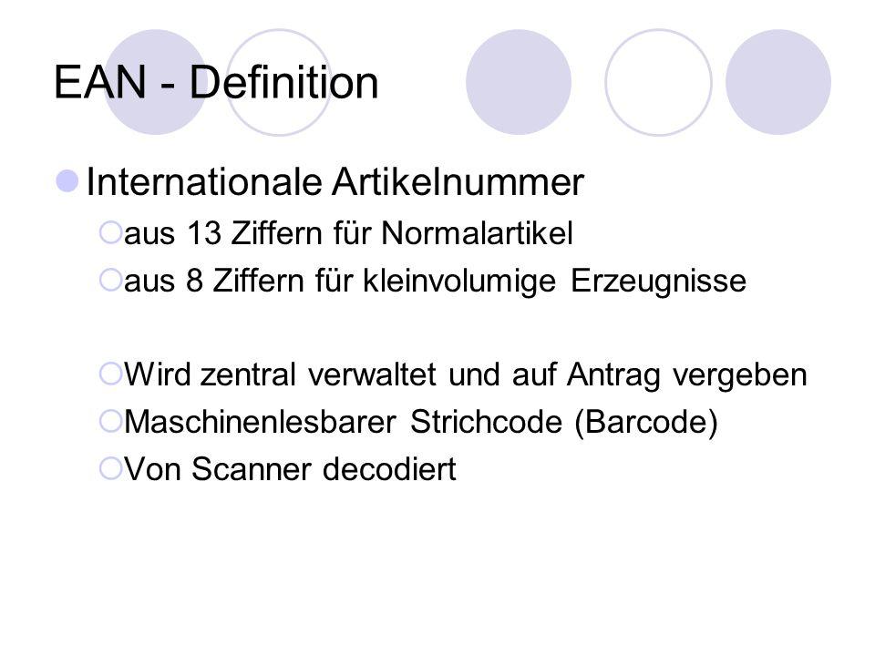 EAN - Definition Internationale Artikelnummer aus 13 Ziffern für Normalartikel aus 8 Ziffern für kleinvolumige Erzeugnisse Wird zentral verwaltet und auf Antrag vergeben Maschinenlesbarer Strichcode (Barcode) Von Scanner decodiert