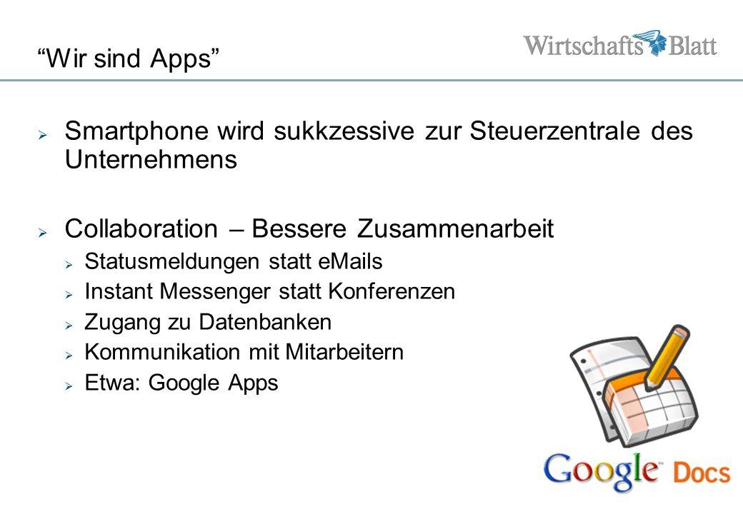 Seite Wir sind Apps Smartphone wird sukkzessive zur Steuerzentrale des Unternehmens Collaboration – Bessere Zusammenarbeit Statusmeldungen statt eMail