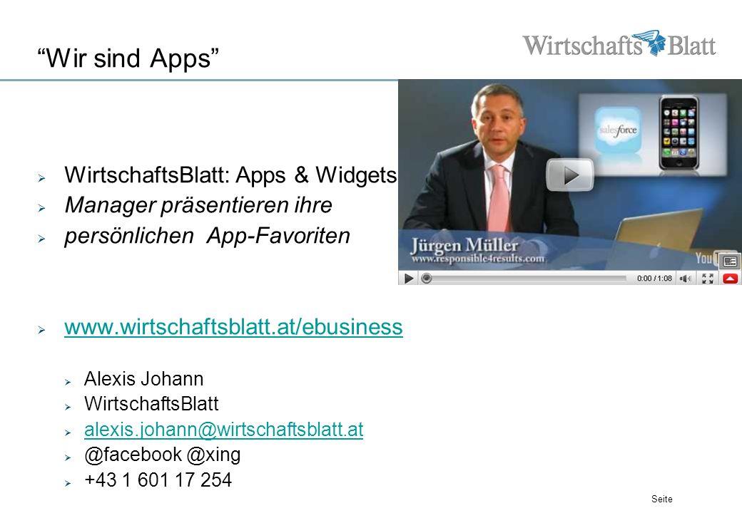 Seite Wir sind Apps WirtschaftsBlatt: Apps & Widgets Manager präsentieren ihre persönlichen App-Favoriten www.wirtschaftsblatt.at/ebusiness Alexis Joh