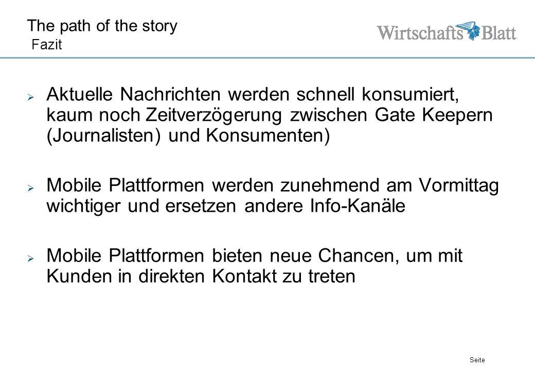Seite The path of the story Fazit Aktuelle Nachrichten werden schnell konsumiert, kaum noch Zeitverzögerung zwischen Gate Keepern (Journalisten) und K