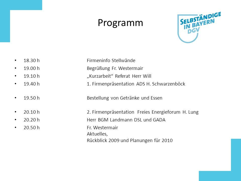 Programm 18.30 hFirmeninfo Stellwände 19.00 hBegrüßung Fr.