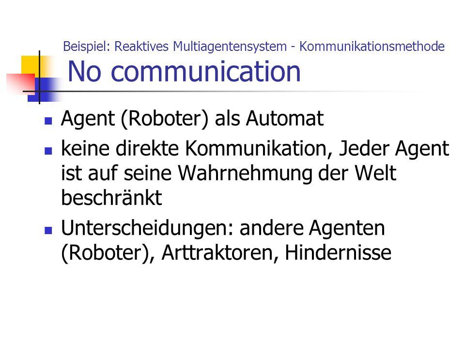 Beispiel: Reaktives Multiagentensystem - Kommunikationsmethode No communication Agent (Roboter) als Automat keine direkte Kommunikation, Jeder Agent i
