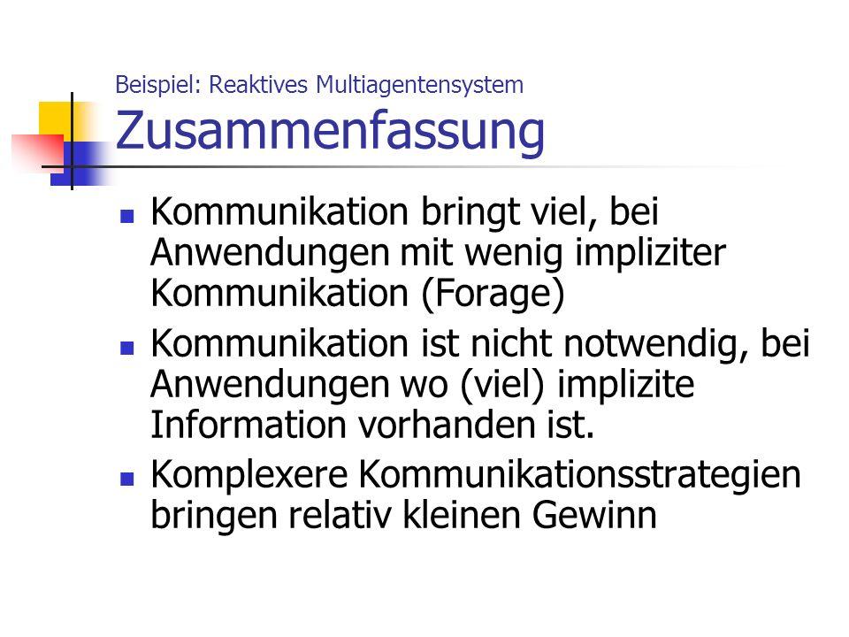Beispiel: Reaktives Multiagentensystem Zusammenfassung Kommunikation bringt viel, bei Anwendungen mit wenig impliziter Kommunikation (Forage) Kommunik