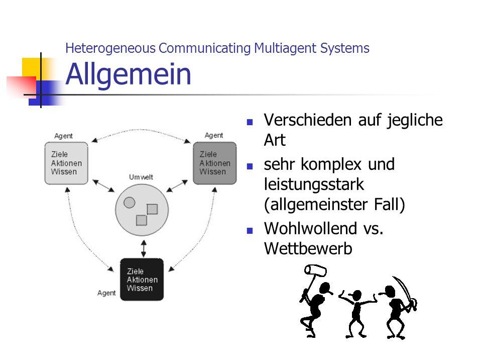 Heterogeneous Communicating Multiagent Systems Allgemein Verschieden auf jegliche Art sehr komplex und leistungsstark (allgemeinster Fall) Wohlwollend