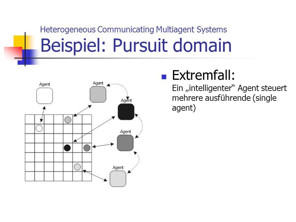 Heterogeneous Communicating Multiagent Systems Beispiel: Pursuit domain Extremfall: Ein intelligenter Agent steuert mehrere ausführende (single agent)