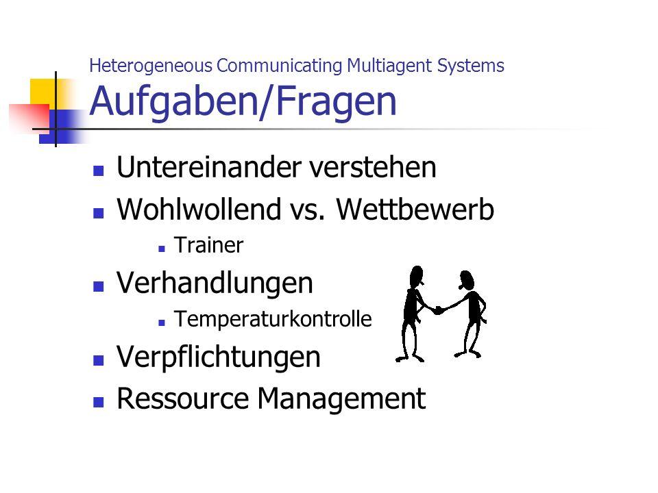 Untereinander verstehen Wohlwollend vs. Wettbewerb Trainer Verhandlungen Temperaturkontrolle Verpflichtungen Ressource Management Heterogeneous Commun