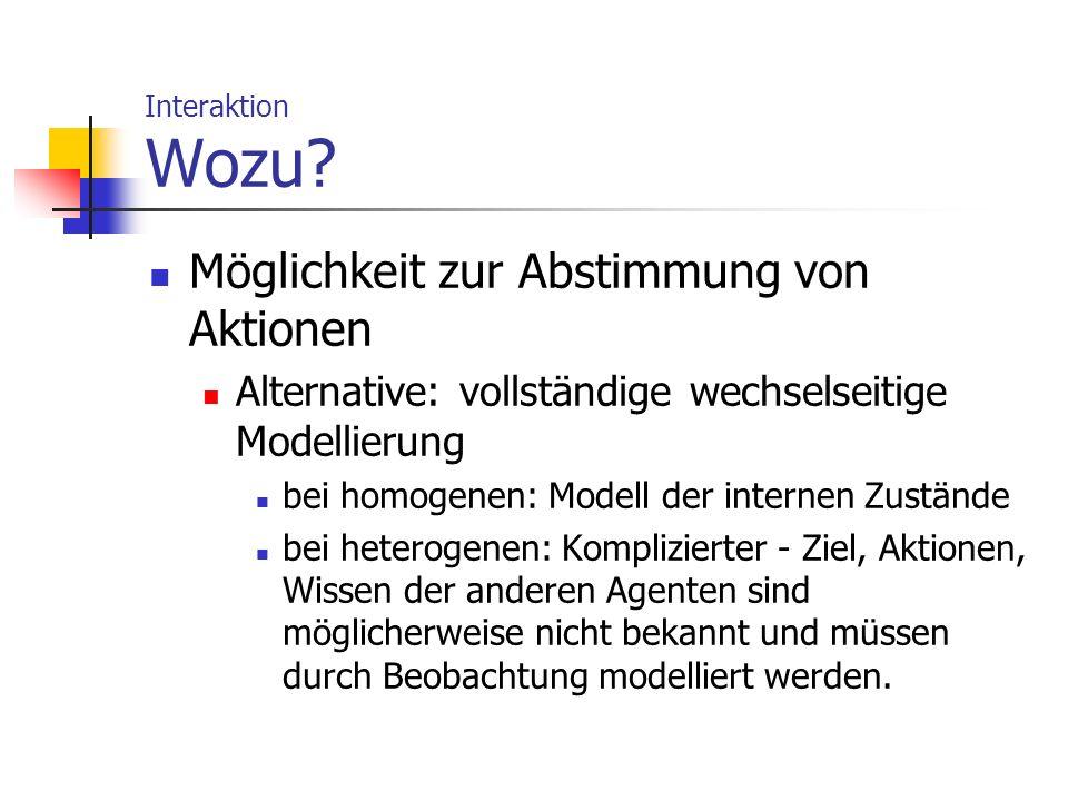 Interaktion Wozu? Möglichkeit zur Abstimmung von Aktionen Alternative: vollständige wechselseitige Modellierung bei homogenen: Modell der internen Zus