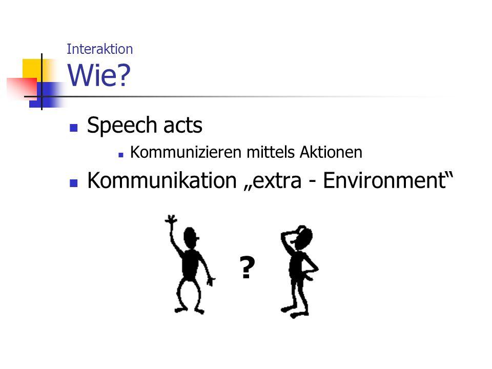 Interaktion Wie? Speech acts Kommunizieren mittels Aktionen Kommunikation extra - Environment ?