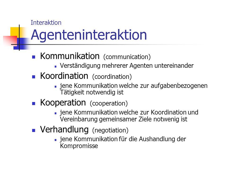 Interaktion Agenteninteraktion Kommunikation (communication) Verständigung mehrerer Agenten untereinander Koordination (coordination) jene Kommunikati