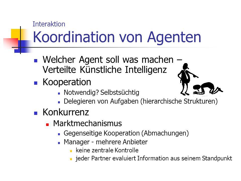 Interaktion Koordination von Agenten Welcher Agent soll was machen – Verteilte Künstliche Intelligenz Kooperation Notwendig? Selbstsüchtig Delegieren