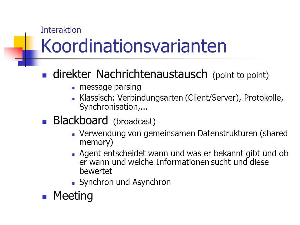 Interaktion Koordinationsvarianten direkter Nachrichtenaustausch (point to point) message parsing Klassisch: Verbindungsarten (Client/Server), Protoko