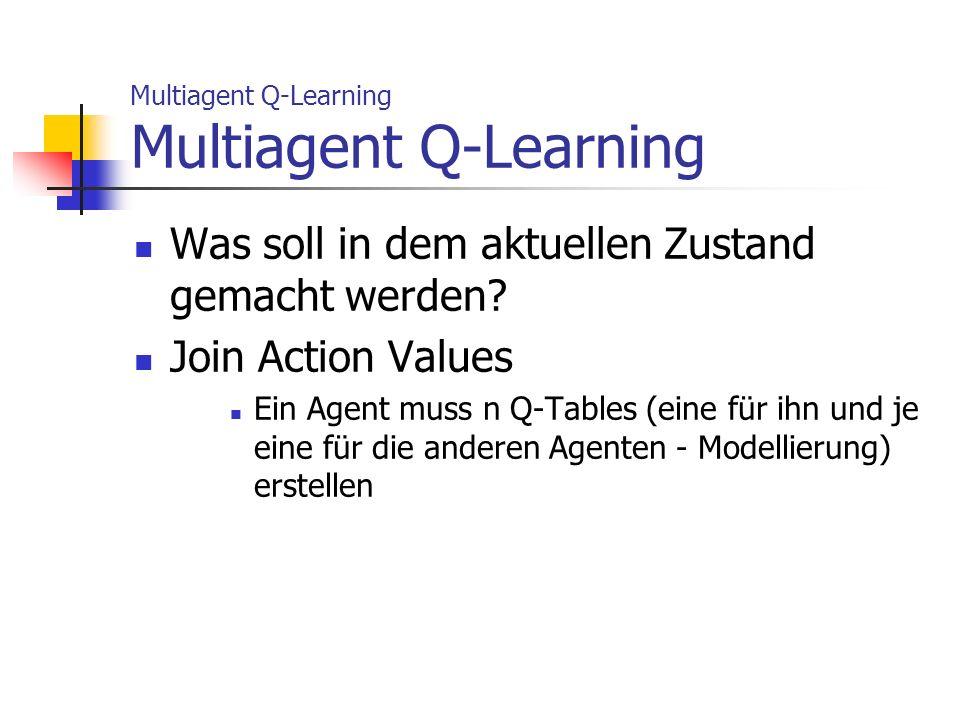 Multiagent Q-Learning Was soll in dem aktuellen Zustand gemacht werden? Join Action Values Ein Agent muss n Q-Tables (eine für ihn und je eine für die