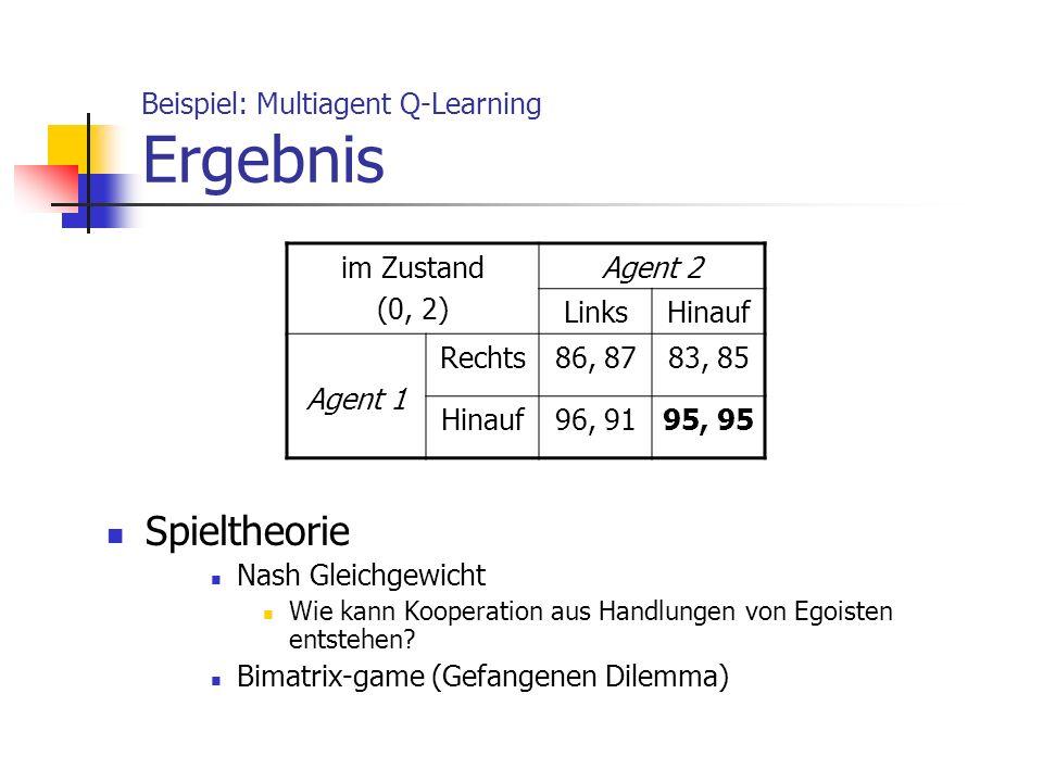 Beispiel: Multiagent Q-Learning Ergebnis Spieltheorie Nash Gleichgewicht Wie kann Kooperation aus Handlungen von Egoisten entstehen? Bimatrix-game (Ge