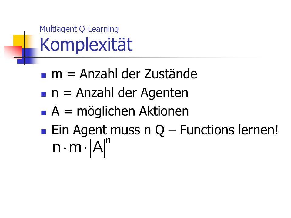 Multiagent Q-Learning Komplexität m = Anzahl der Zustände n = Anzahl der Agenten A = möglichen Aktionen Ein Agent muss n Q – Functions lernen!