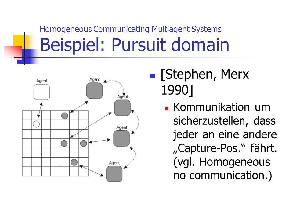Homogeneous Communicating Multiagent Systems Beispiel: Pursuit domain [Stephen, Merx 1990] Kommunikation um sicherzustellen, dass jeder an eine andere