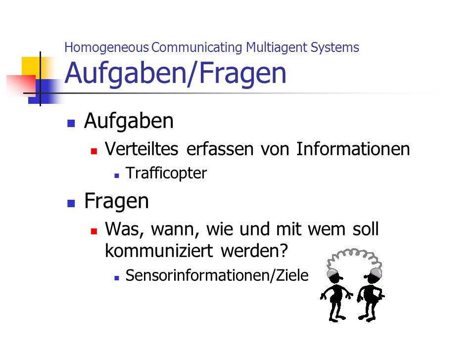 Homogeneous Communicating Multiagent Systems Aufgaben/Fragen Aufgaben Verteiltes erfassen von Informationen Trafficopter Fragen Was, wann, wie und mit