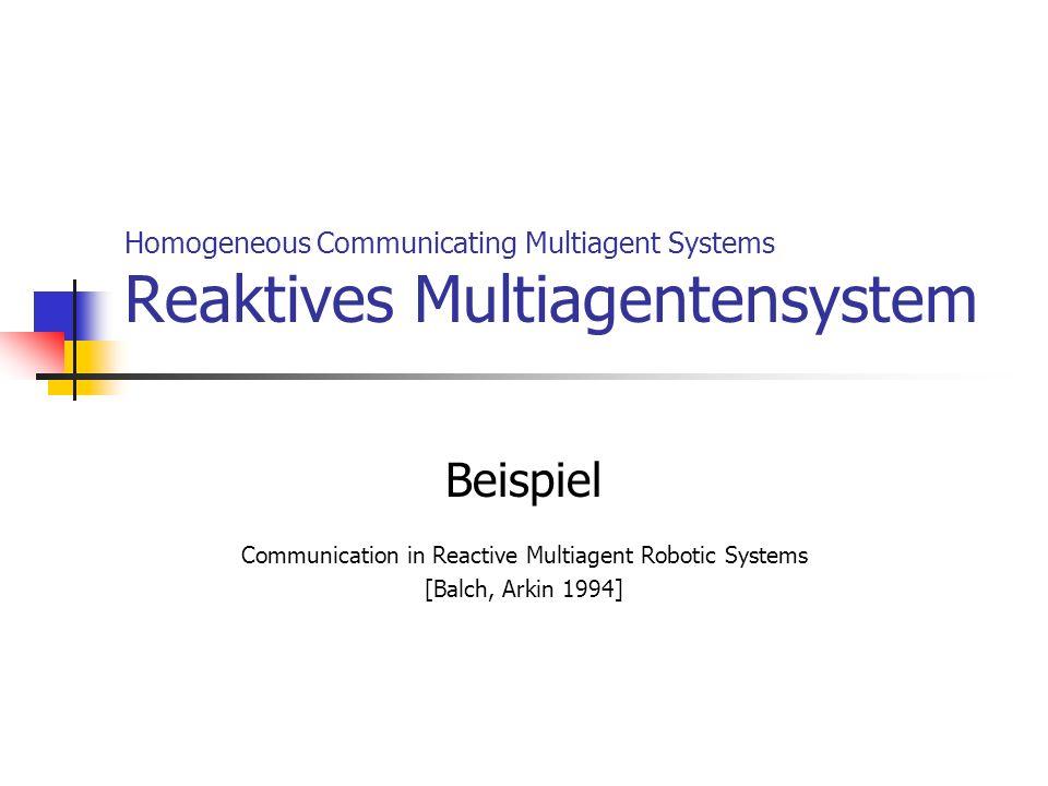 Beispiel: Reaktives Multiagentensystem – Aufgabe Graze-Task Kommunikationsmethoden No communication Automat State und Goal communication Realisiert mit 1 Bit: Suchen oder hinbewegen / weiden