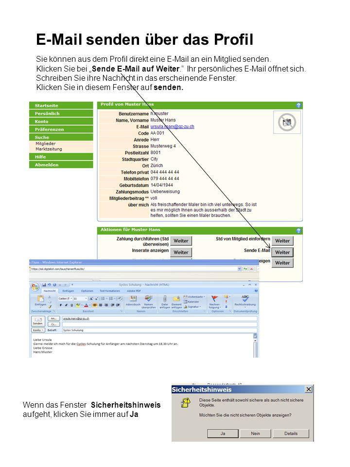 Sie können aus dem Profil direkt eine E-Mail an ein Mitglied senden.