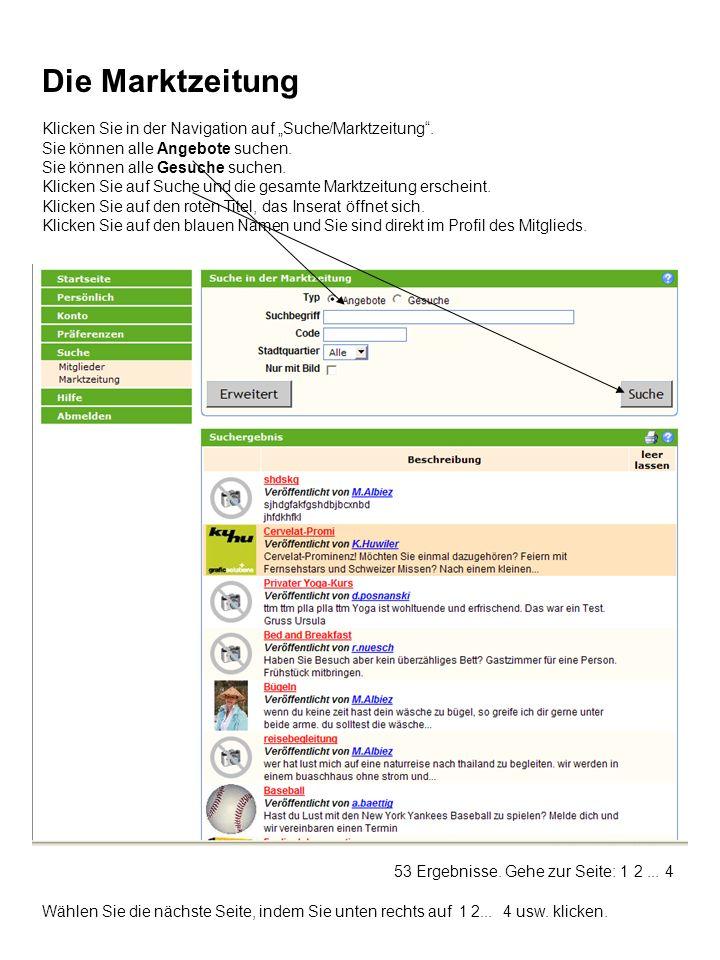 Klicken Sie in der Navigation auf Suche/Marktzeitung.