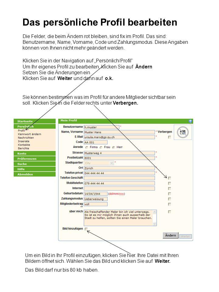 Notizen machen und Kontakte aus dem Adressbuch löschen Klicken Sie in der Navigation auf Persönlich/Kontakte Um Notizen über ein Mitglied zu machen, klicken Sie auf den Bleistift.