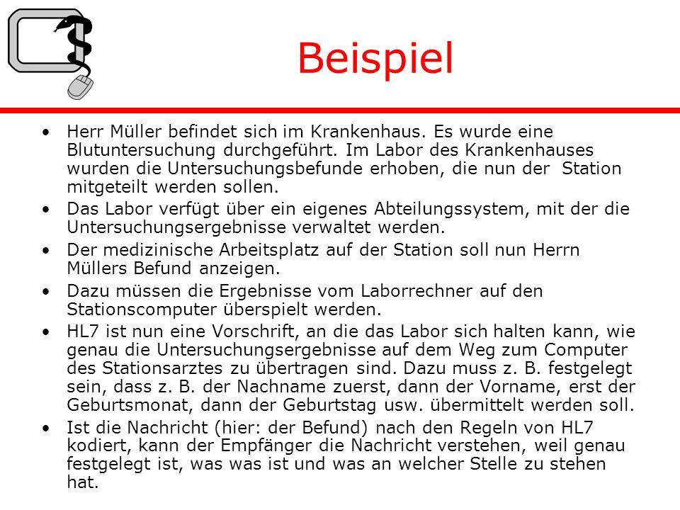 Beispiel Herr Müller befindet sich im Krankenhaus.